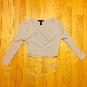 3/4 Sleeve Beige Cropped Wrap Top